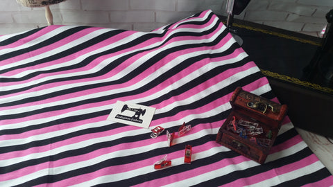 Pink, black and white half inch stripes 95/5 cotton lycra 4 way stretch knit fabric