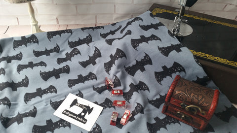Black Grunge Bats on CHARCOAL GREY - cotton lycra - 150cm wide