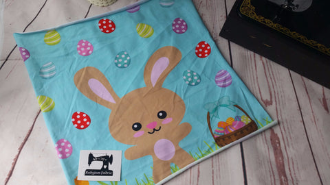 "Easter Panel - Bunny Rabbit on mint organic knit panel 15"" x 15"". Sold per panel."