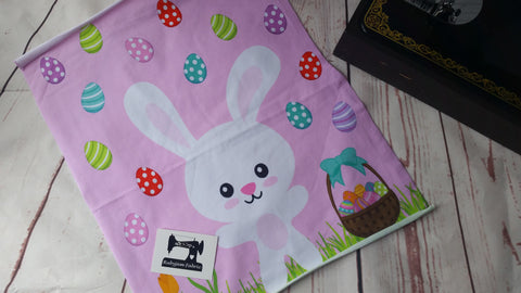 "Easter Panel - Bunny Rabbit on pink organic knit panel 15"" x 15"". Sold per panel. - clearance"