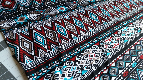 Red Turquoise Aztec print 4 way stretch knit fabric 95/5 cotton lycra