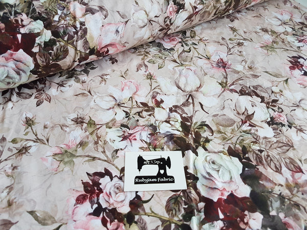 Vintage Roses cotton lycra 4 way stretch knit fabric