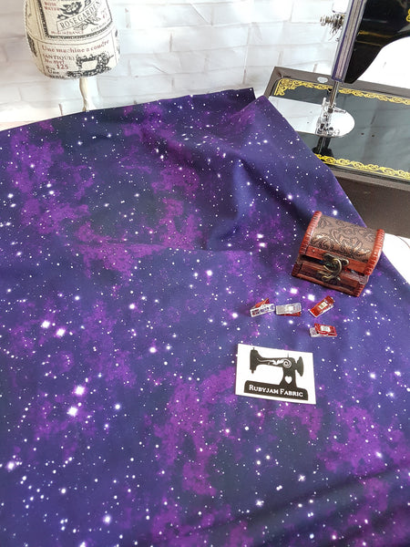 Purple Galaxy Star - cotton lycra - 150cm wide