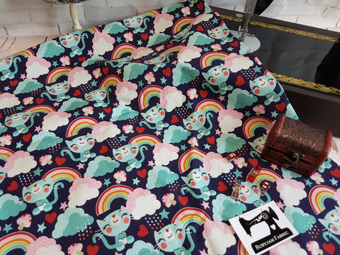 Rainbow Kitties - cotton lycra - 150cm wide