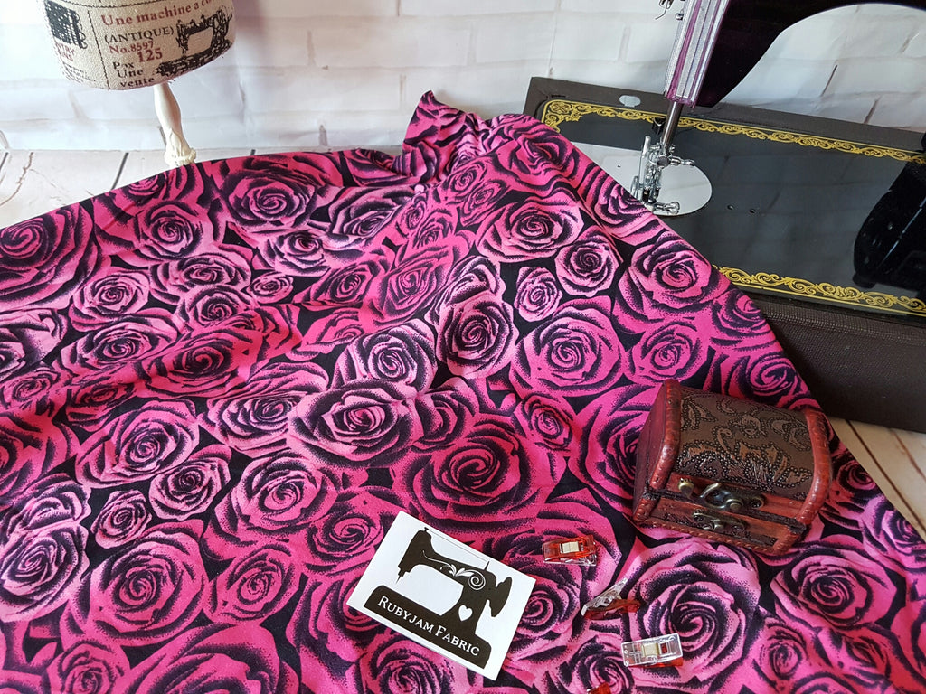 Bright Pink Roses - Double Brushed Poly Lycra - 150cm wide