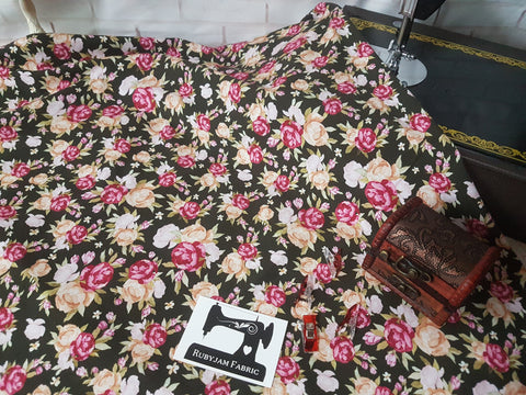 Vintage Bouquet cotton lycra 4 way stretch knit fabric