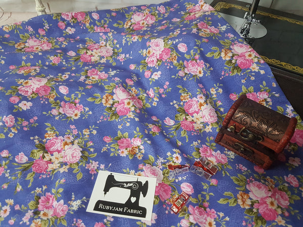 Pink Floral on Blue - cotton lycra - 150cm wide