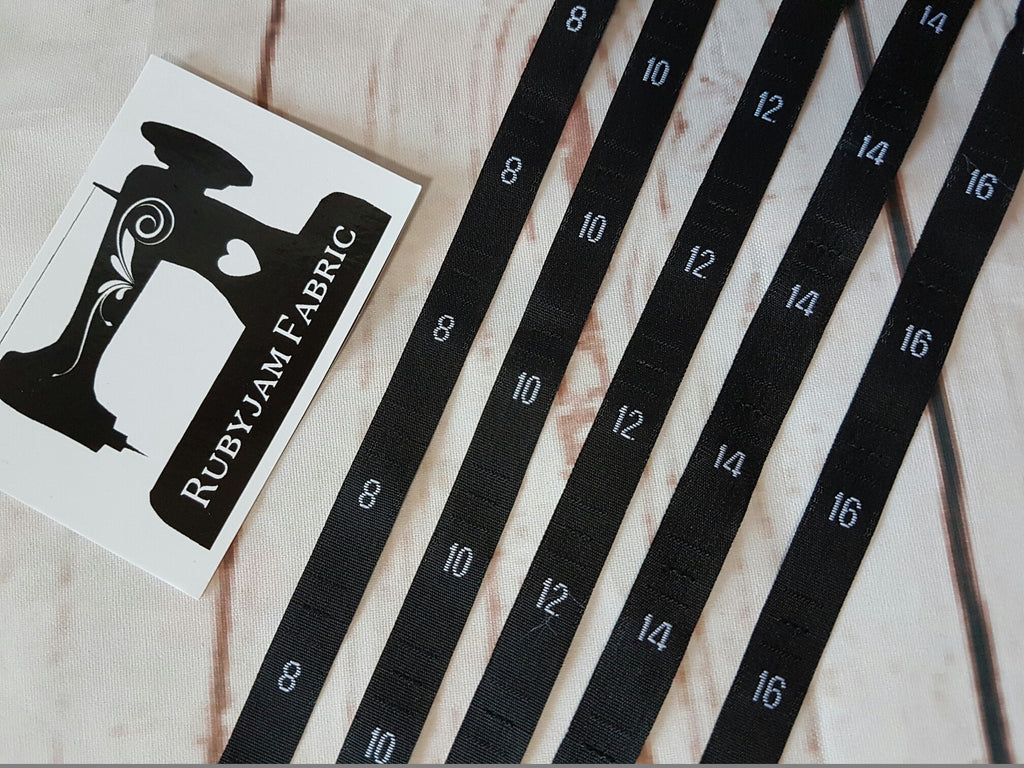 100 Pack of 8-10-12-14-16 size labels - BLACK woven, sew in