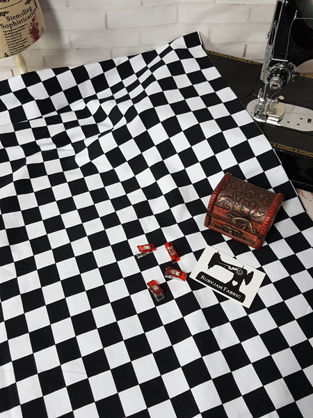 Black and White Checks - cotton lycra - 150cm wide