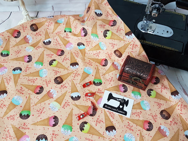 Ice Cream Cones - cotton lycra - 150cm wide
