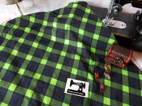 Green Tartan - cotton lycra - 150cm wide