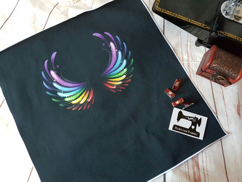 Rainbow Wings back panel - cotton lycra - clearance