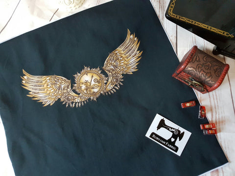 Steampunk Wings back panel - cotton lycra - clearance