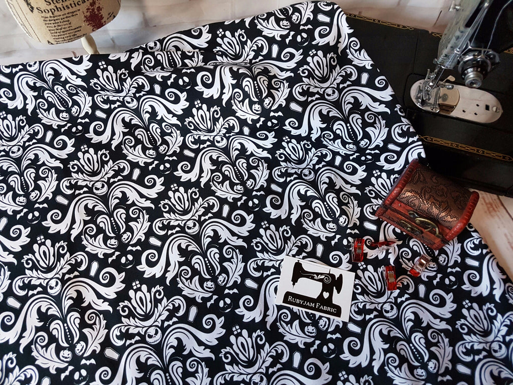 Jack Skellington Damask - cotton lycra - 150cm wide
