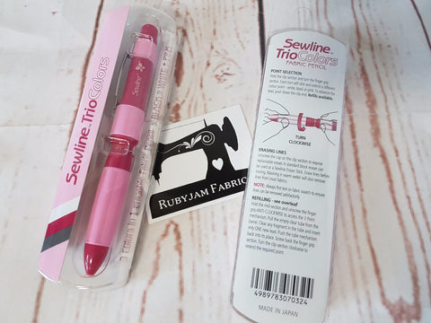 Sewline Trio Colours Fabric Pencil (black, white, pink leads + eraser)