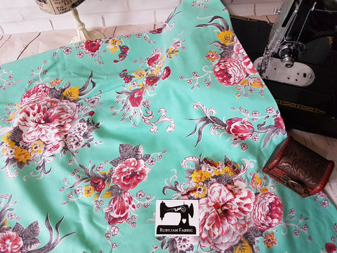 Flowers on Mint Green - cotton lycra - 150cm wide