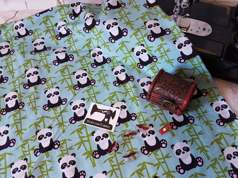 Bamboo Pandas - cotton lycra - 150cm wide