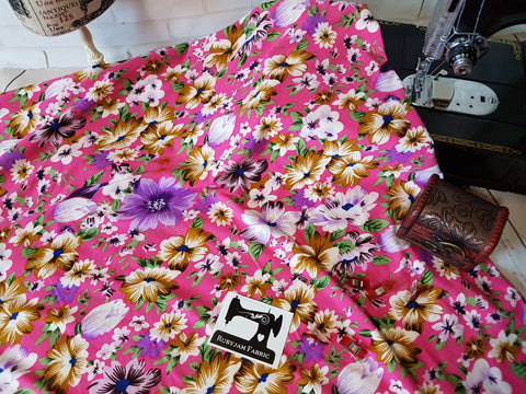 Spring Floral on Pink - Double Brushed Poly Lycra - 150cm wide