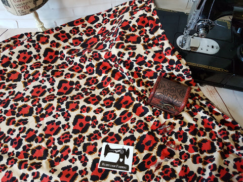 Red Cheetah - Double Brushed Poly Lycra - 165cm wide