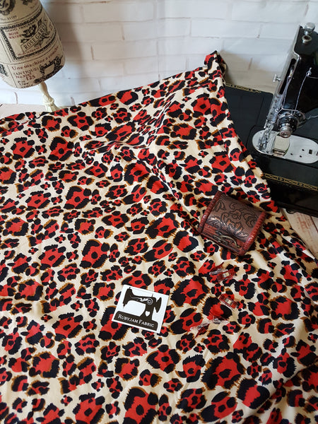 Red Cheetah - Double Brushed Poly Lycra - 165cm wide - clearance