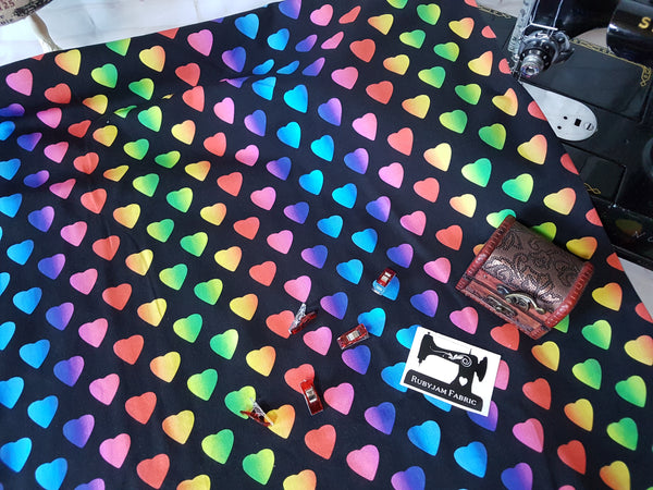 Rainbow Hearts - cotton lycra - 150cm wide