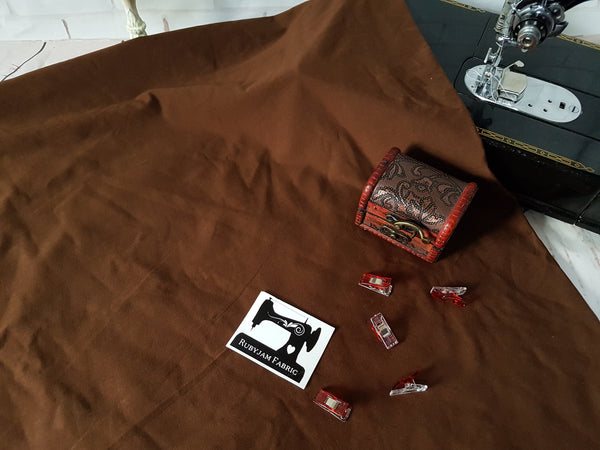 Brown - solid cotton lycra - 185cm wide - 220gsm