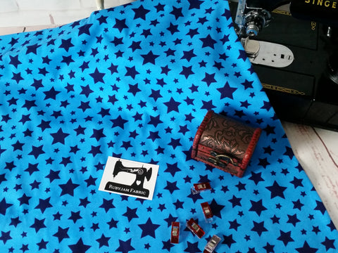 Navy Blue Stars on Blue - cotton lycra - 150cm wide