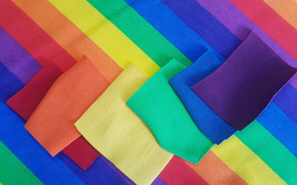 Bright Rainbow Stripes - cotton lycra - 150cm wide