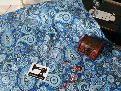 Blue Paisley - cotton lycra - 150cm wide