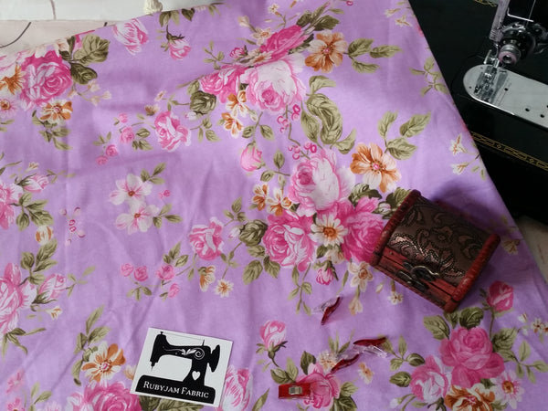 Classic Floral on Pink - cotton lycra - 150cm wide