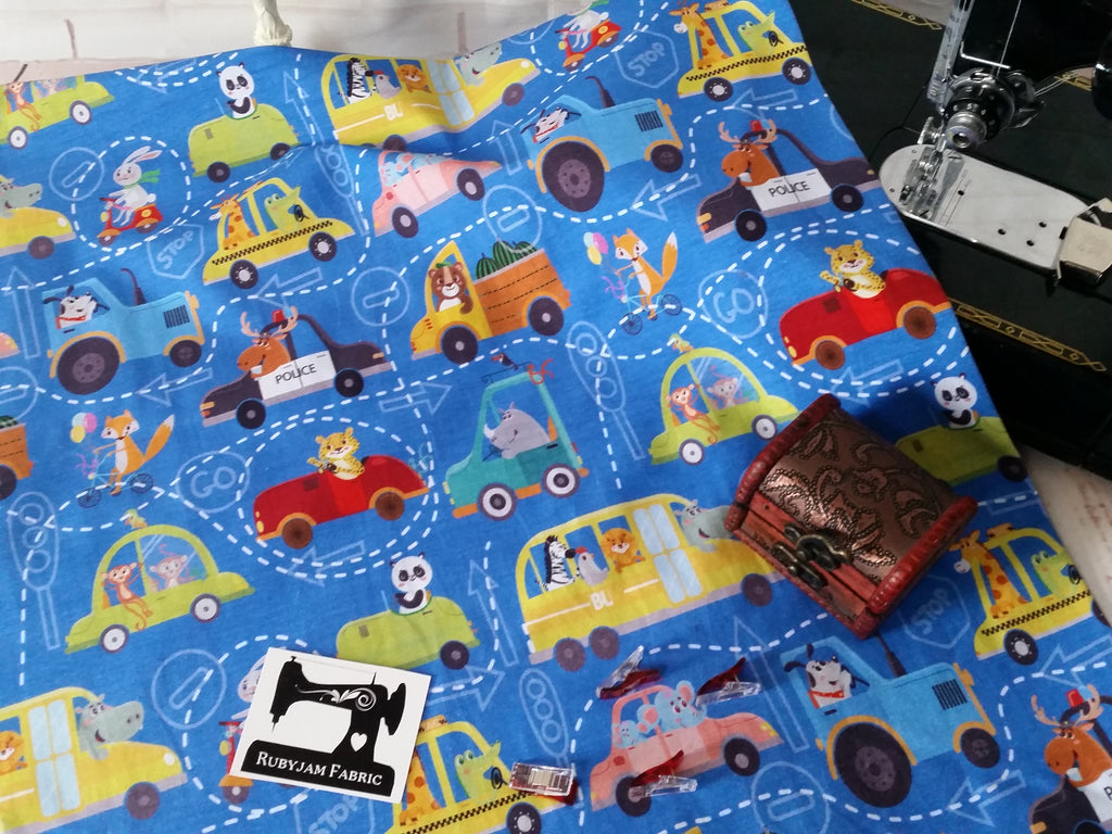 Zoo Cars - cotton lycra - 150cm wide