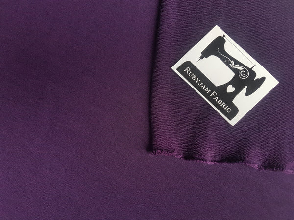 Purple Solid - Poly Rayon Lycra - French Terry - 150cm wide - clearance