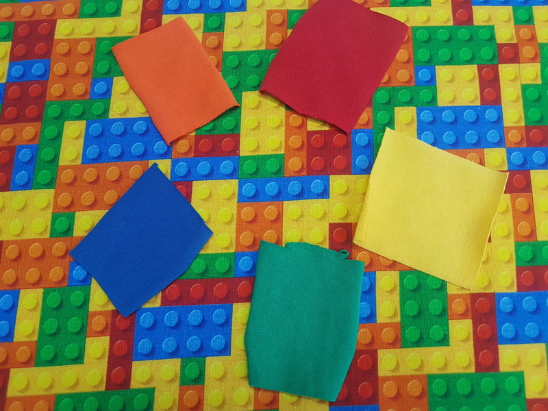 Red Yellow Building Brick Blocks - cotton lycra - 150cm wide