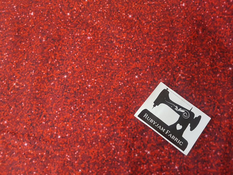 Red Faux Glitter - cotton lycra - 150cm wide