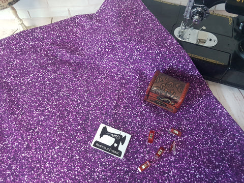 Purple Faux Glitter - cotton lycra - 150cm wide
