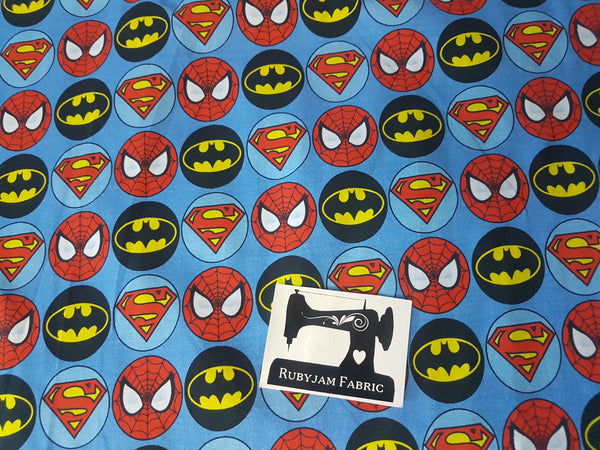 Comic Book Heros - cotton lycra - 150cm wide