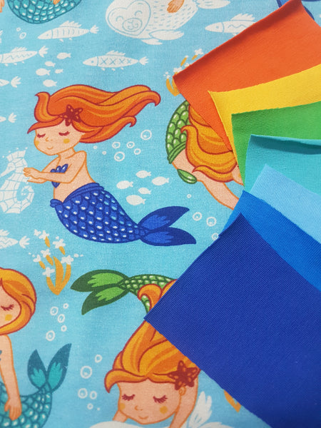 Little Mermaids  - cotton lycra - 150cm wide