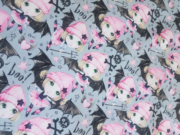 Bat Girl Pink - cotton lycra - 150cm wide