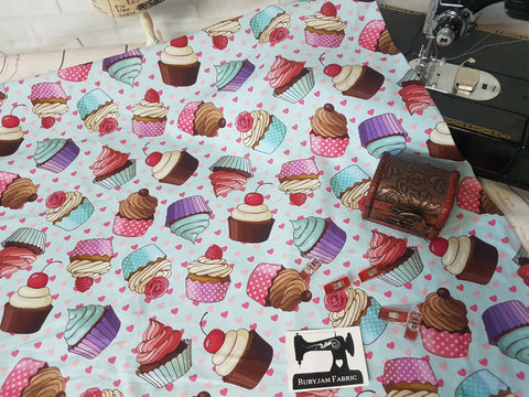 Cupcakes - cotton lycra - 150cm wide