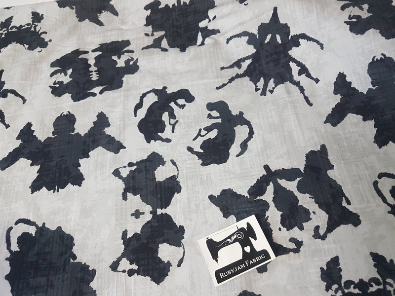 Ink Blots  - cotton lycra - 150cm wide - clearance