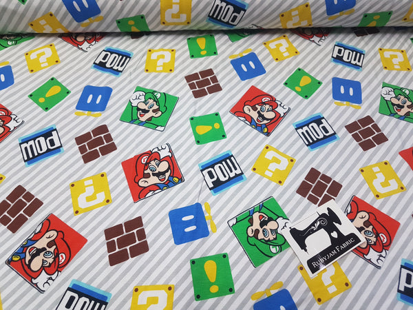 Nintendo Super Mario Bros LICENSED - cotton lycra - 147cm wide