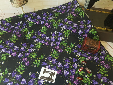 Embroidered Belladonna Floral - cotton lycra - 150cm wide
