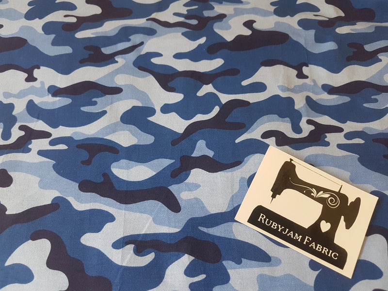 Camouflage Blue - cotton lycra - 150cm wide