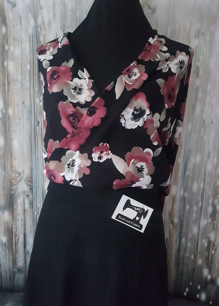 Burgundy Roses on Black - cotton lycra - 150cm wide