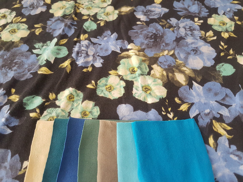 Blue Peonies - cotton lycra - clearance