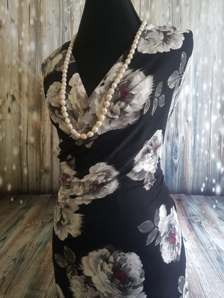 Silver Floral on Black - Double Brushed Poly Lycra - 150cm wide
