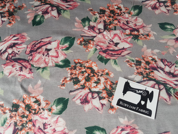 Pink Floral on Silver Grey - cotton rayon lycra - clearance
