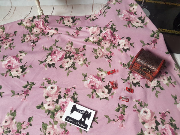 Vintage Roses on Dusty Mauve - poly rayon lycra - clearance