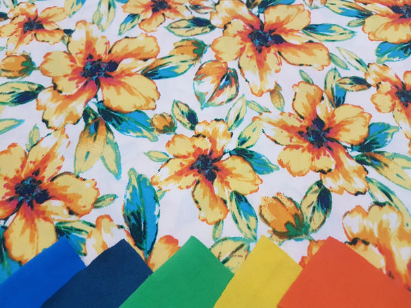 Sunshine Yellow Flowers on White - rayon lycra - clearance