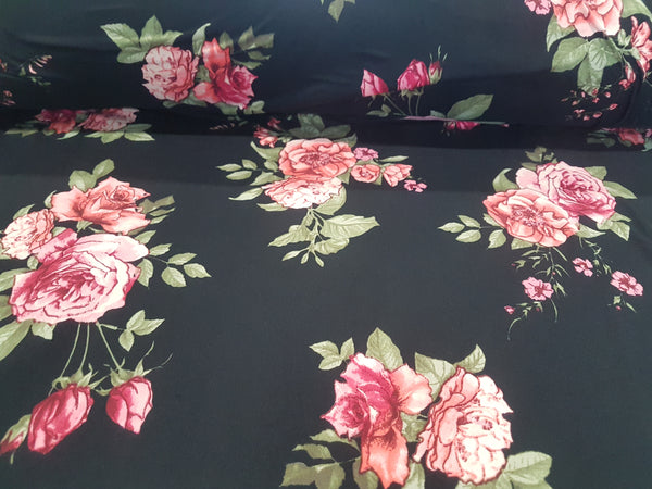 Rose Bouquet on Black - Double Brushed Poly Lycra